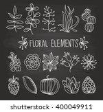 floral elements chalk flowers... | Shutterstock .eps vector #400049911