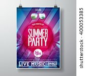 vector summer beach party flyer ... | Shutterstock .eps vector #400053385