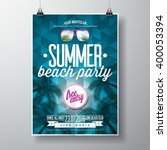 vector summer beach party flyer ... | Shutterstock .eps vector #400053394