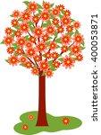red flowers tree vector   Shutterstock .eps vector #400053871