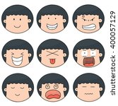 vector set of cartoon face | Shutterstock .eps vector #400057129