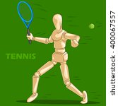 concept of tennis sports with... | Shutterstock .eps vector #400067557