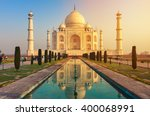 The taj mahal is an ivory white ...
