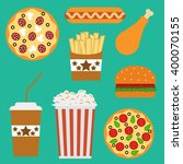 flat fast food menu icons of... | Shutterstock .eps vector #400070155