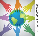 many colorful hands surrounding ... | Shutterstock .eps vector #400075081