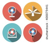 Set Of Fan Icons In Flat Style...