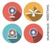 Set Of Fan Icons In Flat Style...