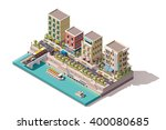 vector isometric low poly town... | Shutterstock .eps vector #400080685