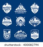 set of vector mountain and... | Shutterstock .eps vector #400082794