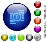 set of color bitcoins glass web ...