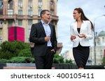business partners meet on the... | Shutterstock . vector #400105411