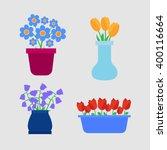 flower pots icons. spring...   Shutterstock .eps vector #400116664