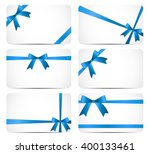 gift card with blue ribbon and... | Shutterstock . vector #400133461