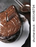 Chocolate Cake On Plate With A...