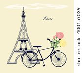 eiffel tower bicycle flowers... | Shutterstock . vector #400159039