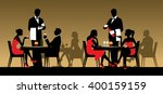 silhouettes of people sitting...   Shutterstock . vector #400159159