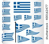 vector greek flag set | Shutterstock .eps vector #400162477