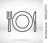 line icon  plate  knife and fork | Shutterstock .eps vector #400162717