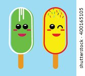 yellow and green ice cream with ... | Shutterstock .eps vector #400165105