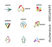 set of linear arrow abstract... | Shutterstock .eps vector #400169695