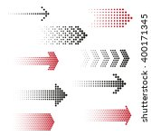 set of dotted arrows. halftone... | Shutterstock .eps vector #400171345