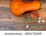 healthy food  pumpkin seeds and ... | Shutterstock . vector #400176349