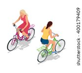female city cyclist riding on a ... | Shutterstock .eps vector #400179409
