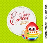 colored happy easter spring... | Shutterstock . vector #400185505