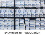 rows of shelves with boxes | Shutterstock . vector #400205524