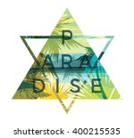 tropical beach summer print... | Shutterstock .eps vector #400215535