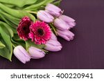 Lilac Tulips And Pink Gerbera...