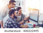 discussing new project. three...   Shutterstock . vector #400222495
