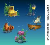 set of underwater objects.... | Shutterstock .eps vector #400225255