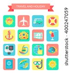 travel and holiday icons. set... | Shutterstock .eps vector #400247059