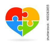 4 Part Jigsaw Puzzle Heart...