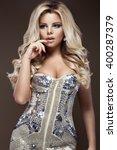 beautiful glamor blondie woman...   Shutterstock . vector #400287379