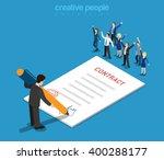flat 3d web isometric contract... | Shutterstock .eps vector #400288177
