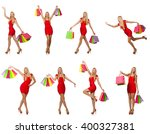 woman with shopping bags... | Shutterstock . vector #400327381