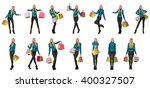 woman with shopping bags... | Shutterstock . vector #400327507