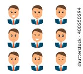 flat man faces collection . big ... | Shutterstock .eps vector #400350394