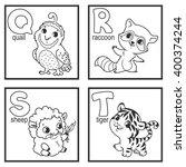 an alphabet with cute animals ... | Shutterstock .eps vector #400374244