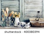 rustic kitchen still life  wire ... | Shutterstock . vector #400380394