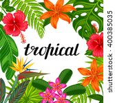 tropical paradise card with... | Shutterstock .eps vector #400385035