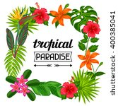 tropical paradise frame with... | Shutterstock .eps vector #400385041