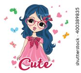 cute girl | Shutterstock .eps vector #400389835
