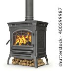 Wood Burning Stove With Fire...