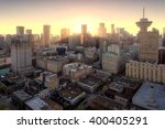 Stock photo purple sunset over downtown vancouver 400405291