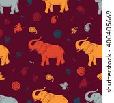 vector elephant and floral... | Shutterstock .eps vector #400405669