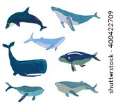 whales set   hand drawn design  ... | Shutterstock .eps vector #400422709