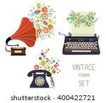 vintage set   gramophone ... | Shutterstock .eps vector #400422721